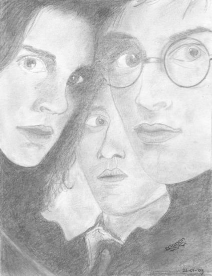 Daniel Radcliffe, Rupert Grint, Emma Watson by Manon.V